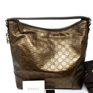 100% Auth New Gucci Metallic Guccissima Hobo Bag